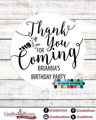 - Thank you for coming! Birthday Party Personalized Party Favor Round Stickers
