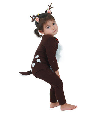 Girls Cute Deer Costume with Antlers and Tail for Kids Toddler Halloween Costume