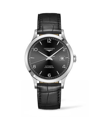 New Longines Record Automatic Black Dial Leather Strap Men's Watch L28214562