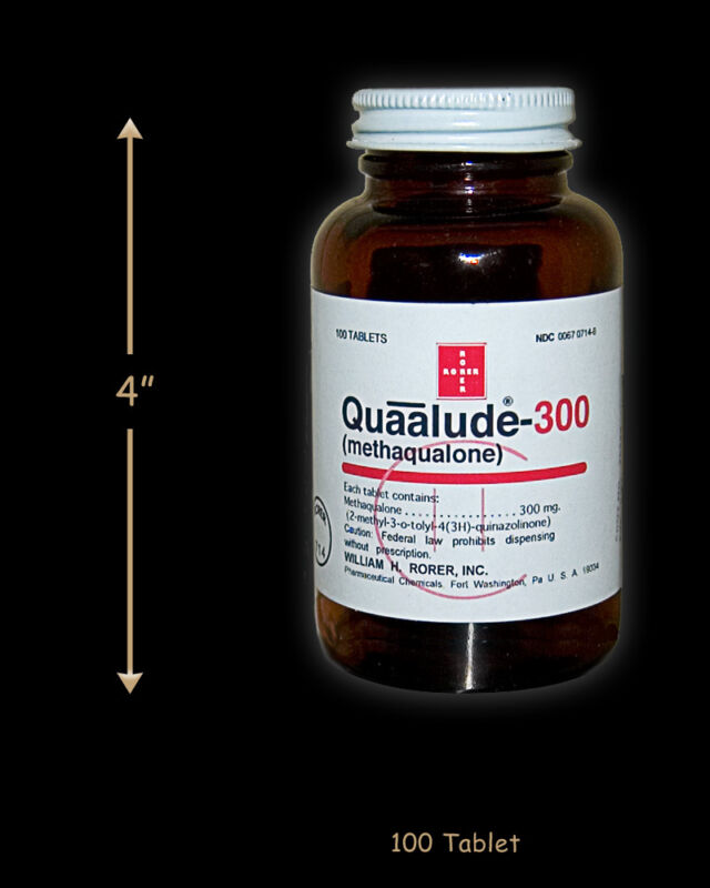 Reproduction Quaalude bottle, Quaaludes qualude
