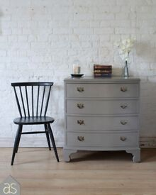 Restored & Re-Loved 4 Drawer Bow Front Chest of Drawers in Grey Chalk Paint