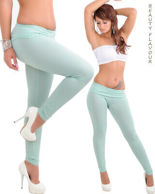 Sommer Damen Leggings High Waist Hose basic lang Lindgrün Aqua Hellblau Basic Leggings