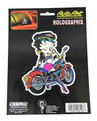 Licensed Iconic Betty Boop Motorcycle Holographix Vinyl Decal Chroma Graphics