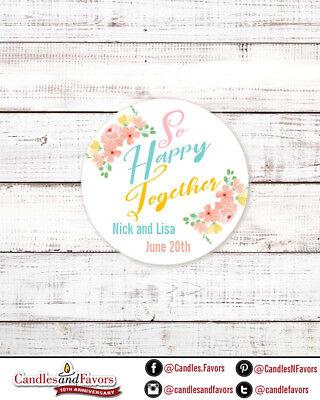 So Happy Together - Round Personalized Bridal  Wedding Shower Sticker Labels - Happy Bridal Shower