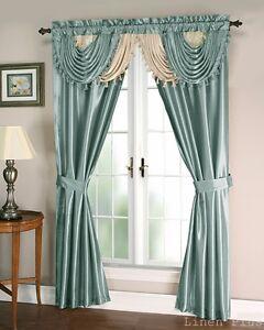 Blue Beige Satin Waterfall Window Curtain Panels Tie Back Set LinenPlus