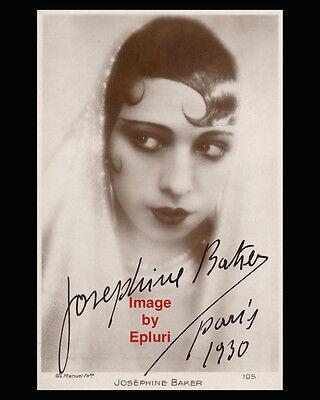 Josephine Baker 1930 Paris pre-print signed 8x10 rp B&W photo