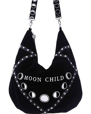 Restyle Moon Child Black Velvet Hobo Bag Gothic Witch Occult Messenger Purse