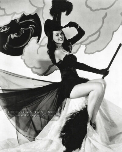 Vintage 1950s Halloween PIN-UP Photo Print DUSTY ANDERSON Sexy Witch - Hollywood