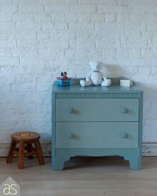 Child's Chest Of 2 Drawers hand painted in Duck Egg Blue Chalk Paint
