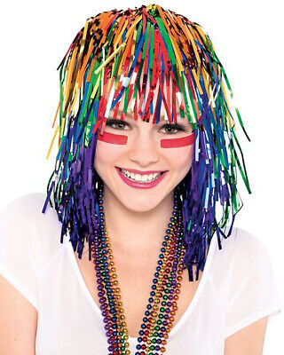 Metallic Tinsel Foil Wig for Adults New Year Halloween Party Costume](Tinsel Wigs)