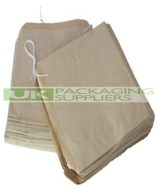 100 LARGE BROWN KRAFT PAPER STRUNG BAGS SIZE 12.5 x 12.5