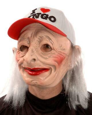 Old Woman Mask Oh-69 I Love Bingo Wrinkles Halloween Costume Party