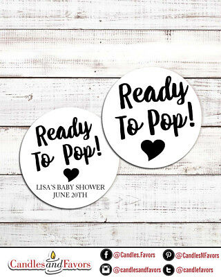 Ready To Pop® Round Personalized Baby Shower Sticker Labels | About To Pop® Baby