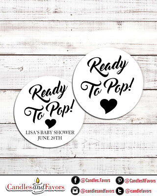 Ready To Pop® Round Personalized Baby Shower Sticker Labels | About To Pop Baby