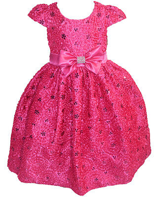 Girls Kids Hot Pink Party Special Occasion Wedding Flower Bow Dress *CLEARANCE*](Clearance Flower Girl Dresses)