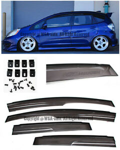 09 Up Fit 4pcs MUGEN Window Rain Guard Visors JDM GE8 Jazz Clip On