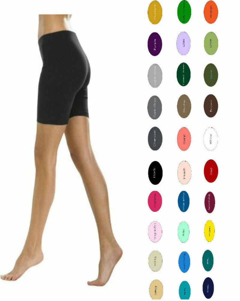 Women Premium Cotton Spandex Gym Exercise Bike Shorts S-5XL