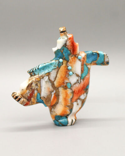 ZUNI FETISH-TURQUOISE/SPINY OYSTER DANCING BEAR by CLAUDIA PEINA-NATIVE AMERICAN