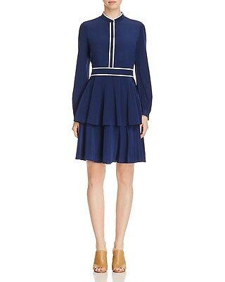 NWT $425 Tory Burch Winston Silk  Dress  4  Navy
