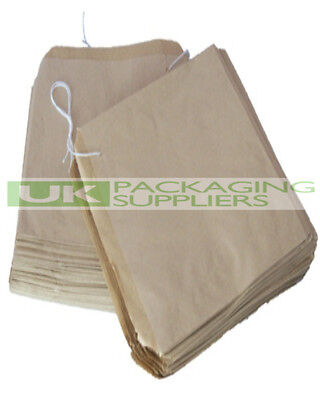 100 SMALL BROWN KRAFT PAPER STRUNG BAGS SIZE 8.5 x 8.5