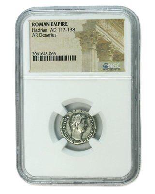 Hadrian Roman Silver Denarius NGC Certified Slab AD 117-138