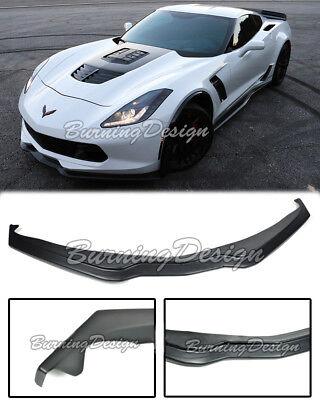 For 14-17 Corvette C7 Z06 Z07 Stage 2 ABS Plastic Front Lip W// Carbon Splitters