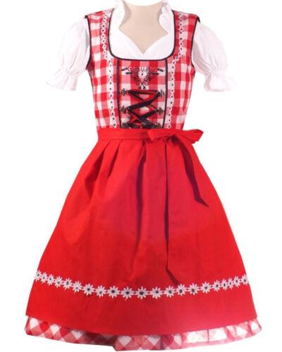 Girls,Kids,US sz 4.Germany,German,Trachten,Dirndl Dress,3-pc.Black RED B-Ware