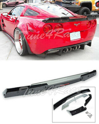 05-13 Corvette C6 | Rear Spoiler C6.5 style GLOSSY BLACK Light Tinted Wickerbill, used for sale  Shipping to Canada