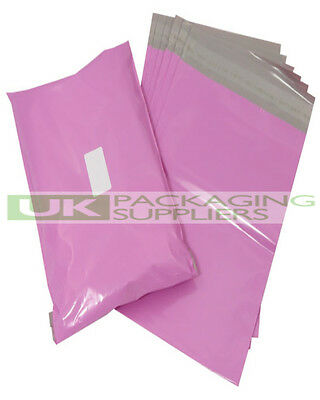 "100 PINK PLASTIC MAILING BAGS SIZE 12 x 16"" SELF SEAL POSTAGE POST SACKS - NEW"