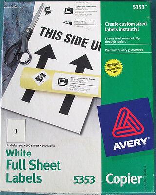 5 Labels --Avery 5353 Copier Mailing Label - 8.5