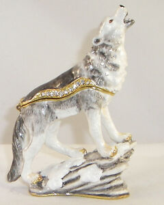 KINGSPOINT MOONLIGHTING WOLF PEWTER  BEJEWELED HINGED TRINKET / JEWELRY  BOX