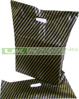 """200 SMALL 7.5 x 10"""" BLACK + GOLD STRIPE PLASTIC CARRIER GIFT PARTY BAGS - NEW"""