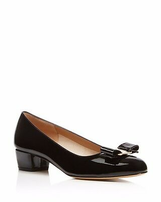 Salvatore Ferragamo Vara Black Patent Leather Pumps 6B Retail $550 BRAND NEW!