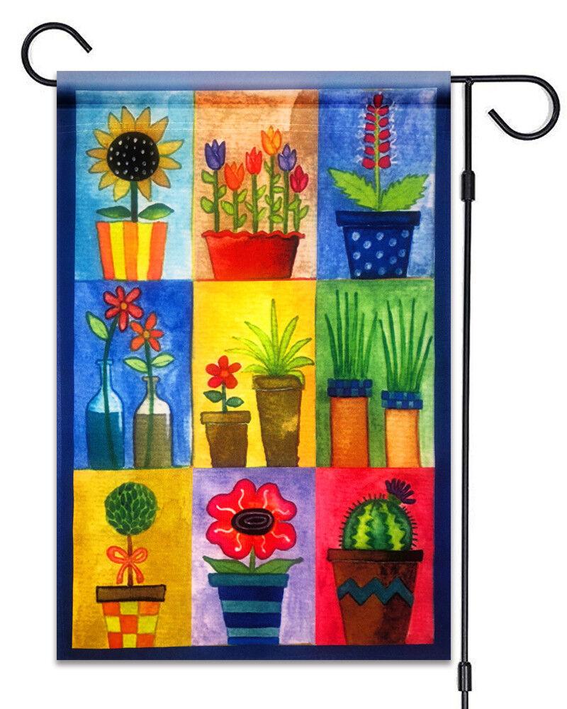 new flower pots garden flag 12 x18