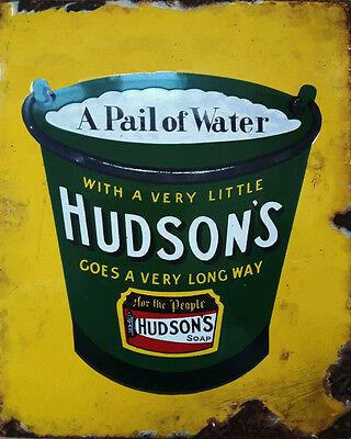 Hudsons Soap VINTAGE ENAMEL METAL TIN SIGN WALL PLAQUE