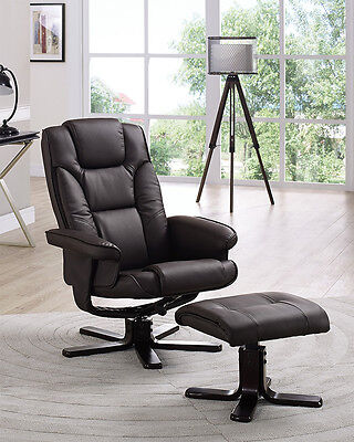 Reclining Chair with Footstool Black Brown Cream Recliner Armchair Home Office