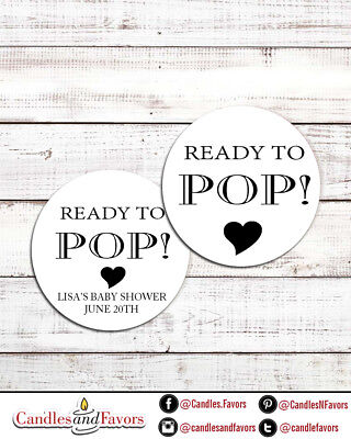 Ready To Pop® Round Personalized Baby Shower Sticker Labels | About To Pop Label - About To Pop Labels