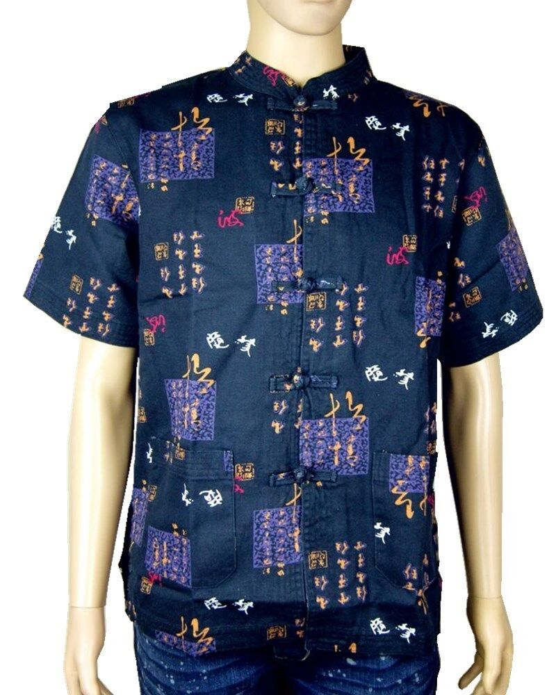 New Chinese Oriental Mens Kung Fu Style Top Shirt Scripts Charm Symbol Patterns