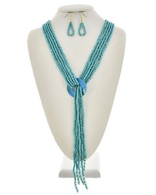 Five Strand Turquoise Glass Seed Bead Circle Shell Necklace earring - Turquoise Five Strand Necklace