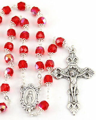 NEW MADE IN ITALY ORNATE RED AURORA BOREALIS CRYSTAL CAPPED BEAD ROSARY