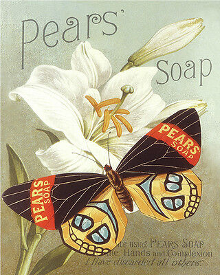 Pears Soap Butterfly - VINTAGE ADVERTISING ENAMEL METAL TIN SIGN WALL PLAQUE