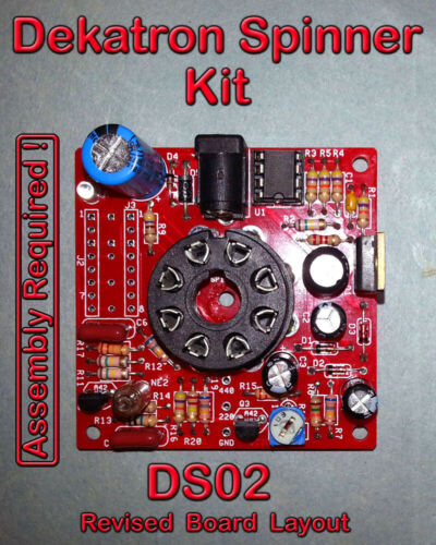 Dekatron Spinner Kit - Variable Speed - PCB & Parts - DS02A - No Tube