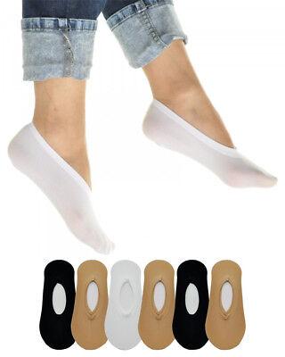 6 Pairs Women's No Show Liner Socks - White, Black, Beige - White Sock Liner