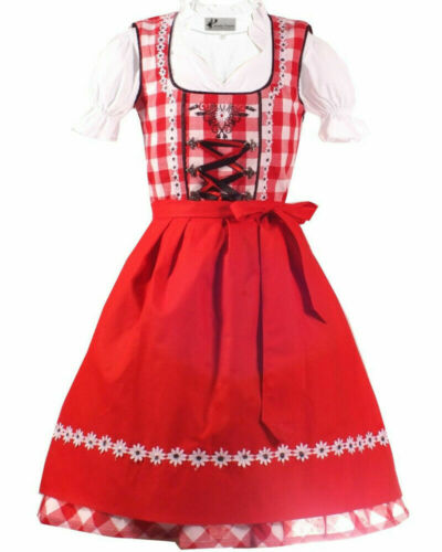 NEW! Girls,Kids,US 4,Germany,Trachten,Oktoberfest,Dirndl Dress,3-pc.Red,Black