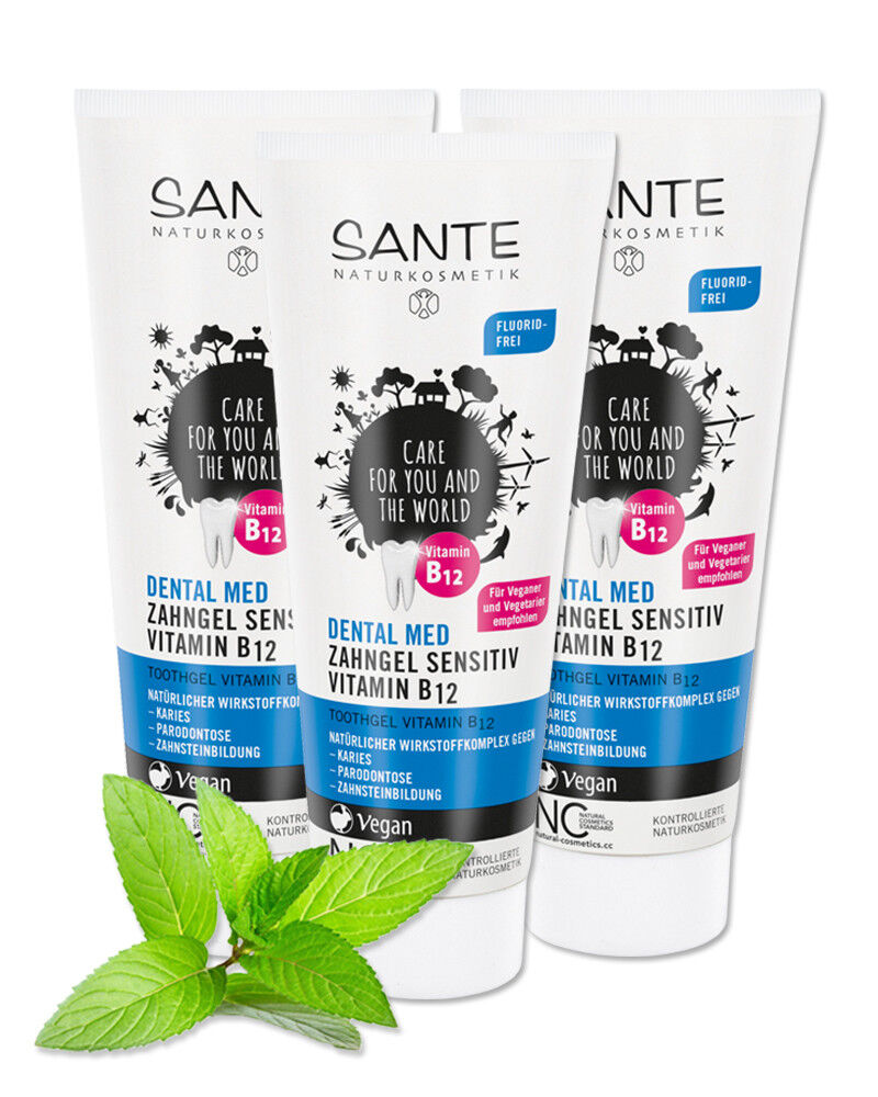3x SANTE Dental med Xylit - Zahngel Sensitiv Vitamin B12 - ohne Natriumfluorid