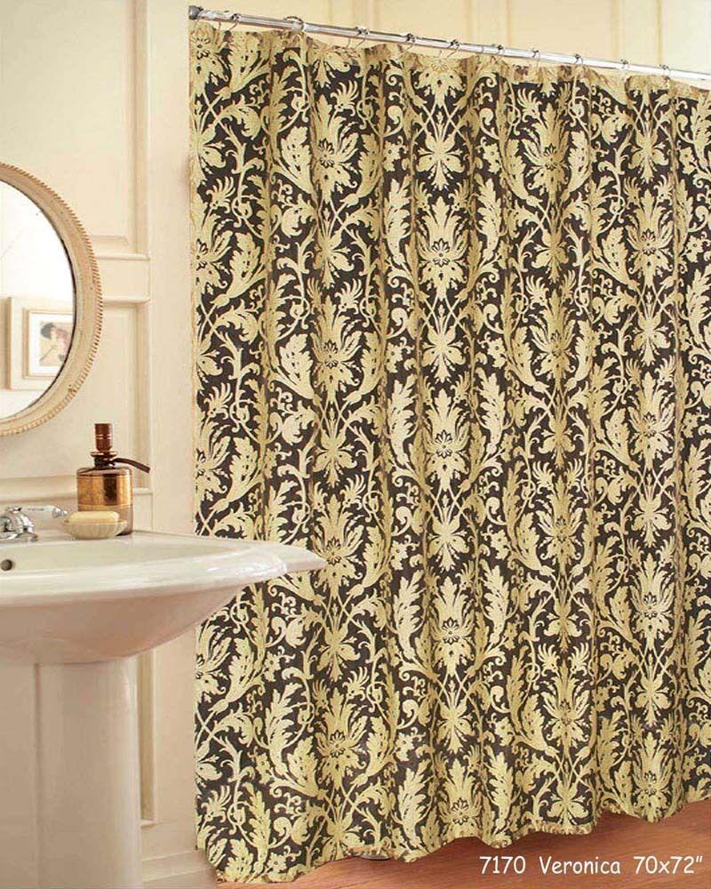 "Noble Veronica Fabric Bath Shower Curtain GOLD 70x72"" #7170"