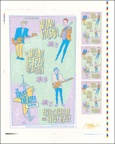 BRIAN WILSON BRIAN SETZER ELVIS COSTELLO 99 Original Uncut Concert Poster Signed