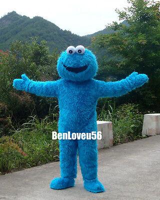 Halloween Sesame Street Cookie Monster Cartoon Plush Costume Mascot Adult Sz  - Halloween Cartoon Monsters