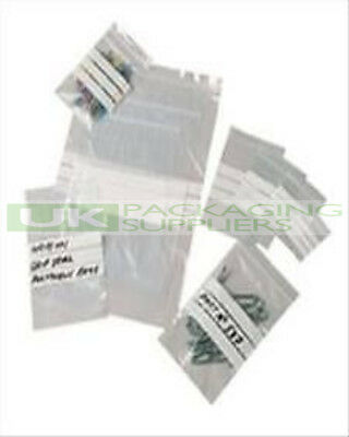 """200 LARGE 9 x 12.75"""" PLASTIC GRIP SEAL BAGS + WHITE WRITING PANELS STRIPS - NEW"""