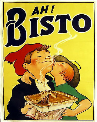 PIe Ah Bisto VINTAGE ADVERTISING ENAMEL METAL TIN SIGN WALL PLAQUE Kitchen